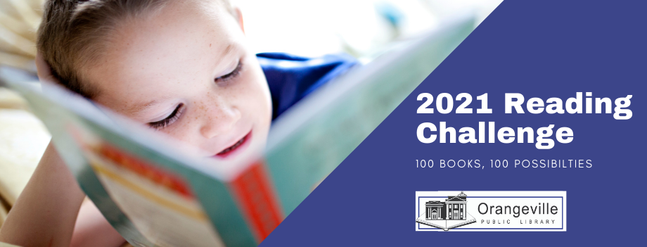 Child Reading a Book with text: 2021 Reading Challenge 100 Books, 100 Possibilities