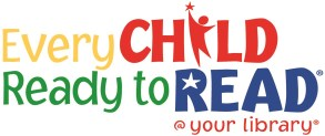 Program logo multi colour text every child ready to read at your library