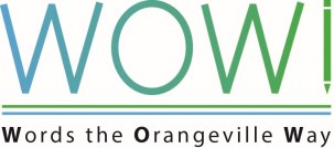 Blue and green program logo text WOW Words the Orangeville Way